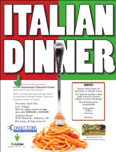 Helpline Of Delaware Morrow Counties Inc Connections And Olive Garden Team Up For